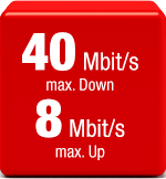 40 Mbit/s max. Down / 8 Mbits/s max Up
